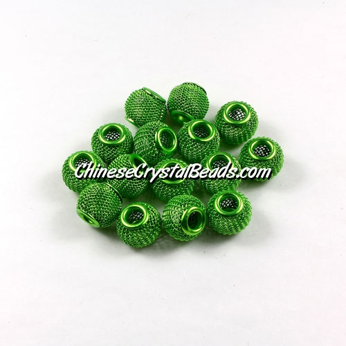 Green Mesh Bead, Basketball Wives, 12mm, 10 pieces