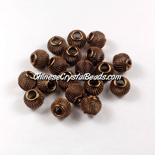 Brown Mesh Bead, Basketball Wives, 12mm, 10 pieces
