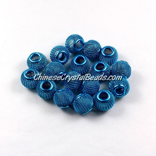 Capri Blue Mesh Bead, Basketball Wives, 12mm, 10 pieces