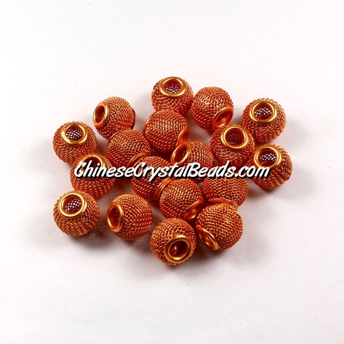 Orange Mesh Bead, Basketball Wives, 12mm, 10 pieces