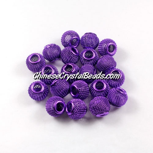 Purple Mesh Bead, Basketball Wives, 12mm, 10 pieces