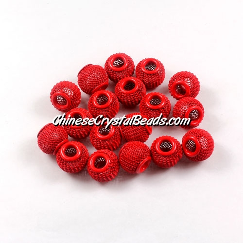 Red Mesh Bead, Basketball Wives, 12mm, 10 pieces