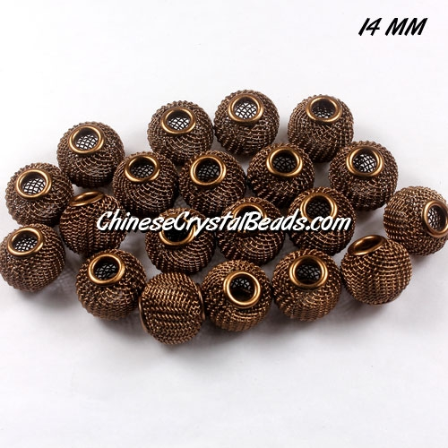 14mm Brown Mesh Bead, Basketball Wives, 12 pieces