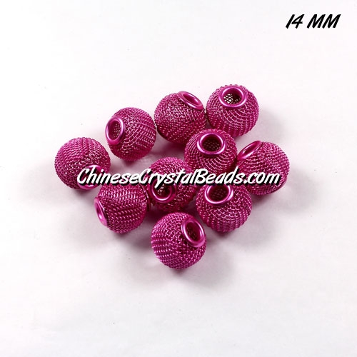 14mm Fuchisa Mesh Bead, Basketball Wives, 12 pieces