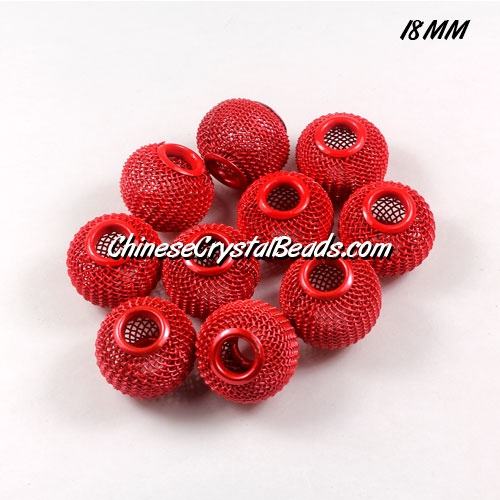 18mm Red Mesh Bead, Basketball Wives, 12 pieces