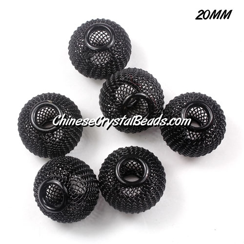 20mm black Mesh Bead, Basketball Wives, 10 pieces
