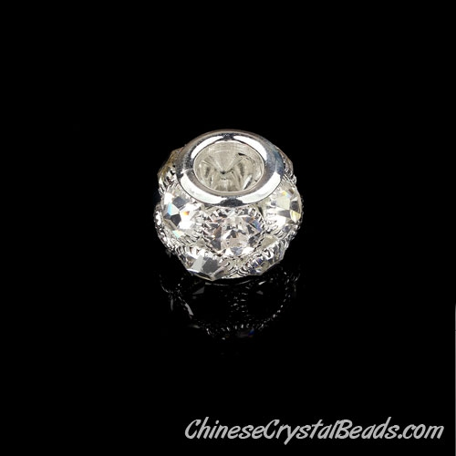 Silver Plated (copper) Rhinestone Bead, basketball wives16x20mm, hole 8mm