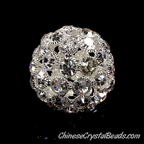 Silver Plated (copper )Rhinestone Ball 38mm, hole 4.5mm