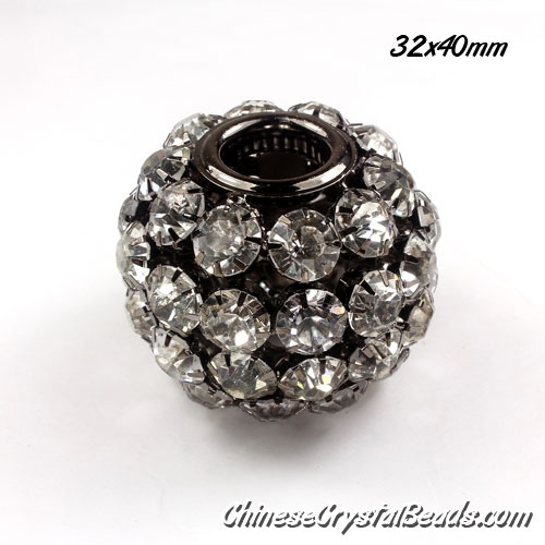 large (copper) black ball Rhinestone Ball, 32x40mm, hole 12mm