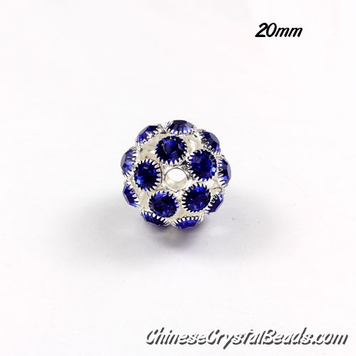 Silver Plated (copper) sapphire Rhinestone Ball 20mm, hole 3mm