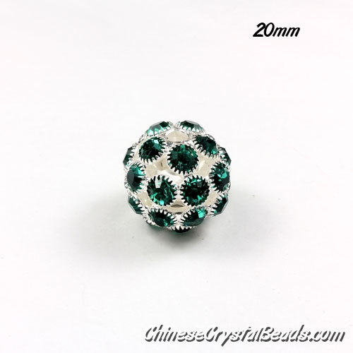 Silver Plated (copper) green Rhinestone Ball 20mm, hole 3mm