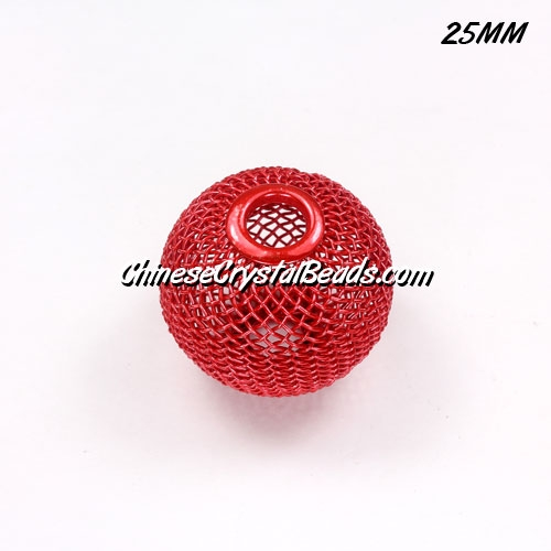 25mm Red Mesh Bead, Basketball Wives, 10 pieces
