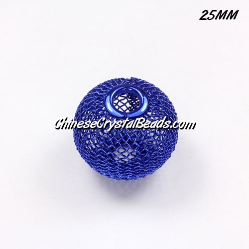 25mm Sapphire Mesh Bead, Basketball Wives, 10 pieces