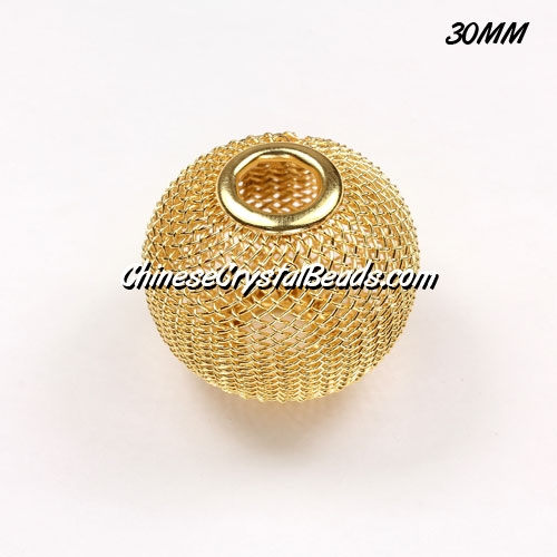 30mm Gold Mesh Bead, Basketball Wives, 1 pieces
