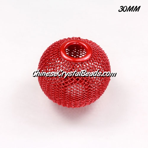 30mm RED Mesh Bead, Basketball Wives, 1 pieces