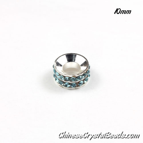 10mm Rondelle spacer Silver-Plated coppoer beads light-aqua Crystal Rhinestones, 10 pcs