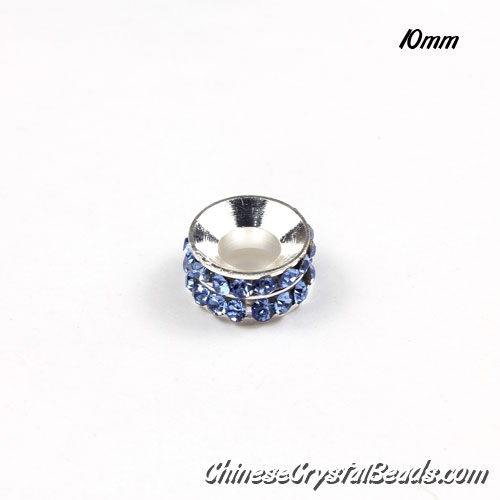 10mm Rondelle spacer Silver-Plated coppoer beads lt sapphire Crystal Rhinestones, 10 pcs