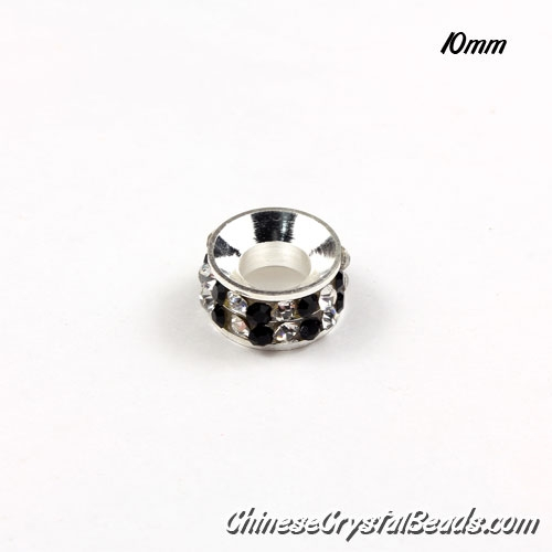 10mm Rondelle spacer Silver-Plated coppoer beads white/black Crystal Rhinestones, 10 pcs