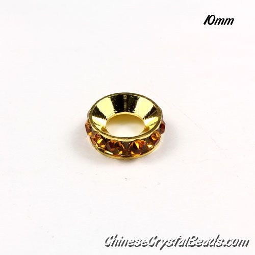 (wholesale only)12mm Rondelle spacer Gold-Plated coppoer beads yellow Crystal Rhinestones, 1 pieces