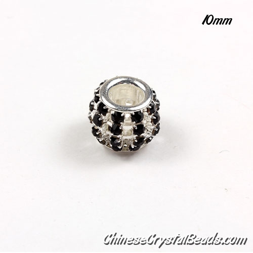 European Beads, Silver Plated, Black Rhinestone, 10mm, hole: 5mm, per pkg of 10 pcs