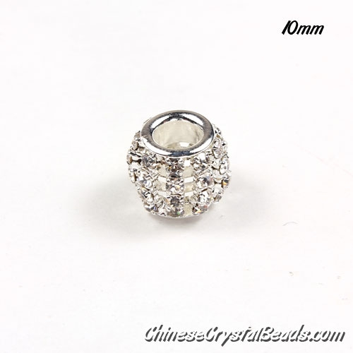 European Beads, Silver Plated, Clear Rhinestone, 10mm, hole: 5mm, per pkg of 10 pcs