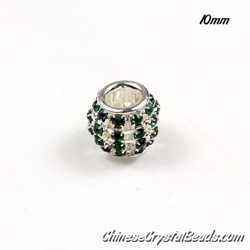 European Beads, Silver Plated, emerald Rhinestone, 10mm, hole: 5mm, per pkg of 10 pcs