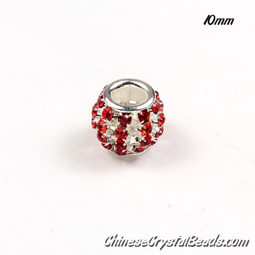 European Beads, Silver Plated, Red Rhinestone, 10mm, hole: 5mm, per pkg of 10 pcs