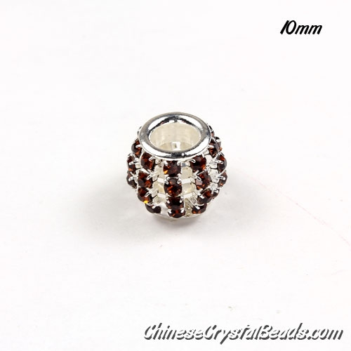 European Beads, Silver Plated, topaz Rhinestone, 10mm, hole: 5mm, per pkg of 10 pcs