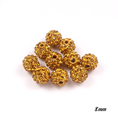 50pcs, 8mm Pave clay disco beads, hole: 1mm, Amber
