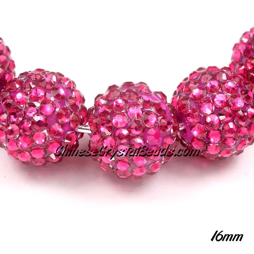 Crystal Disco Ball Acrylic Rhinestone fuchsia16x18mm, 10 beads