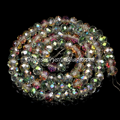 Crystal Rondelle Bead Strand, 3x4mm, green purple, about 150 PCS