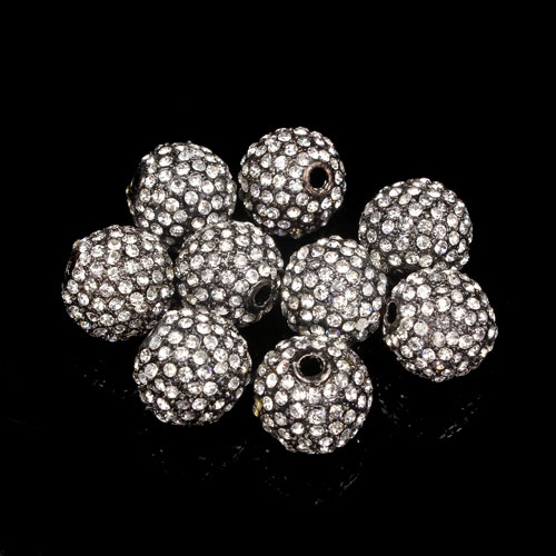 Alloy pave 124 Rhinestones disco 12mm beads , gray, Pave, 9 piceses