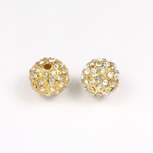 Alloy pave Rhinestones disco 12mm beads , gold, Pave, 9 piceses