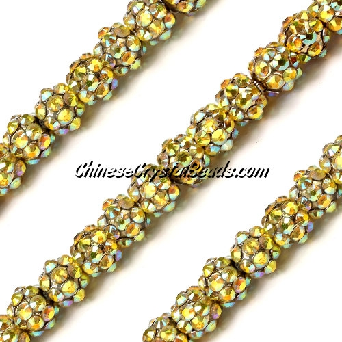 Chinese Crystal Disco Bead Acrylic copper AB 8mm(inside), 30 beads