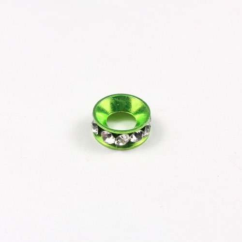 10mm copper baking finish Rondelle spacer,5mm hole, lime green, 1 piece