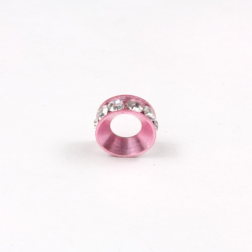 10mm copper baking finish Rondelle spacer,5mm hole, pink, 1 piece