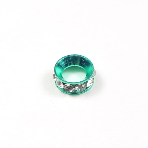 12mm copper baking finish Rondelle spacer,7mm hole, green, 1 piece