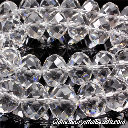 Chinese Crystal Rondelle Bead Strand, Clear, 14x18mm ,10 beads