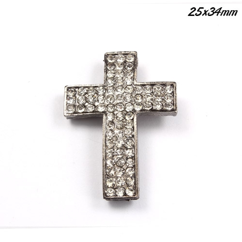 DIY Pave Tool pave 72 Rhinestone alloy cross, gun metal, 25x34mm, 1 piece