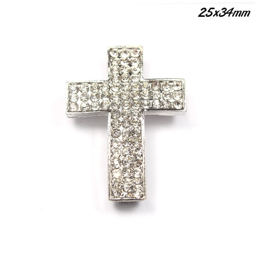 DIY Pave Tool pave 72 Rhinestone alloy cross, silver, 25x34mm, 1 piece