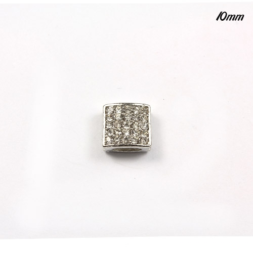 Pave square beads, silver, 10mm, sold per 12 pieces