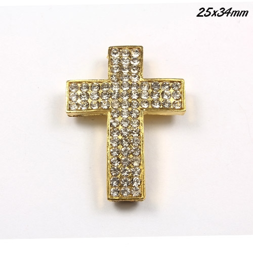 DIY Pave Tool pave 72 Rhinestone alloy cross, gold, 25x34mm, 1 piece