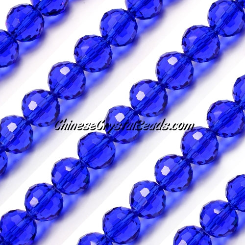 Round crystal beads, 10mm, sapphire, (96fa), 20 pieces