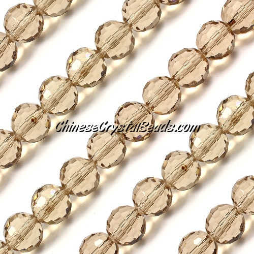 Round crystal beads, 10mm, S. champagne, (96fa), 20 pieces