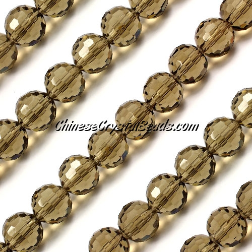 Round crystal beads, 10mm, smoke, (96fa), 20 pieces