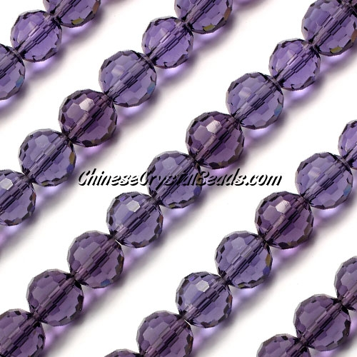 Round crystal beads, 10mm, violet, (96fa), 20 pieces