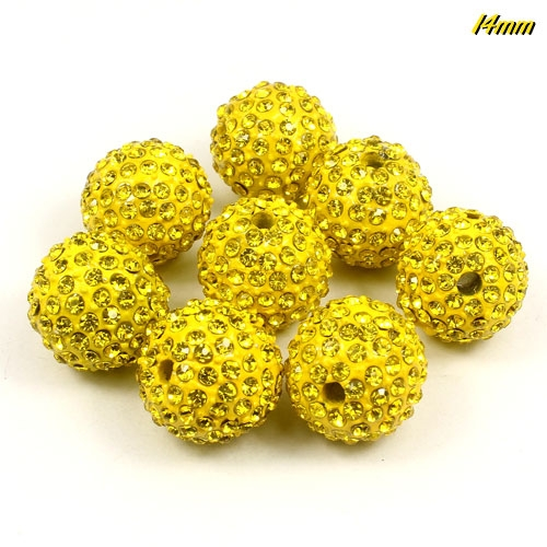 Alloy pave 200 Rhinestones disco 14mm beads , gold yellow, Pave beads, 1 piece