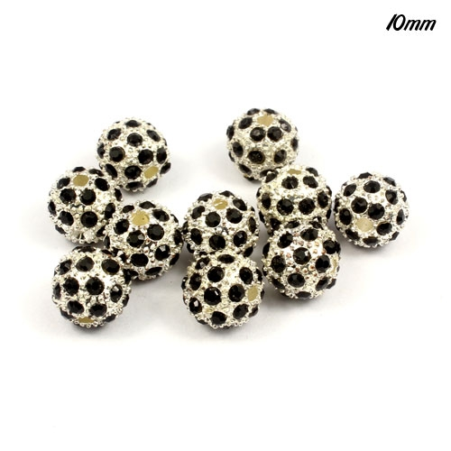 Alloy pave 35 Rhinestones disco 10mm beads , silver black, Pave, 10 pcs