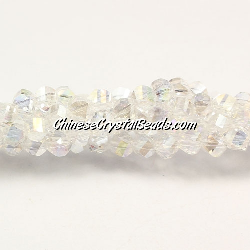 Crystal Helix Beads Strand, 4mm, clear AB, about 100 beads, 15 inch