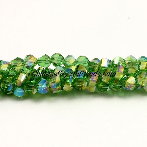 Crystal Helix Beads Strand, 4mm, fern greenAB, about 100 beads, 15 inch
